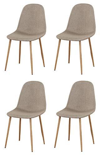 Juego de 4 sillas de comedor para oficina, sala de estar, cocina, color beige