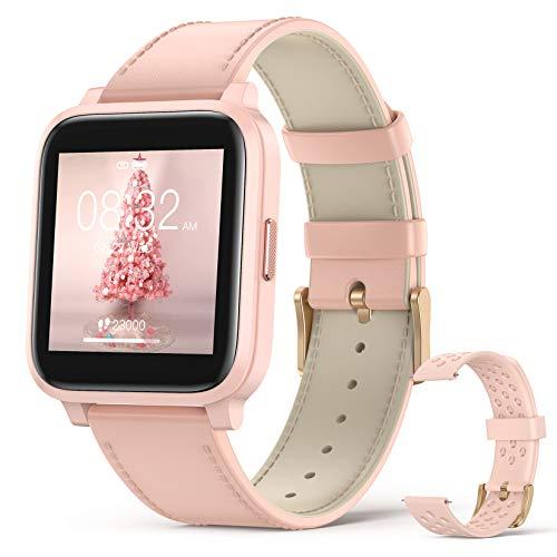 Hommie Reloj Inteligentes Mujer, Smartwatch Mujer con 17 Deportes, Pulsómetros, Monitor de Sueño, Cronómetros, Caloría, Cámara, GPS, Relojes Inteligentes Mujer para iOS y Android, Rosa, 2 Correas