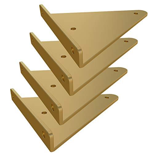 Soporte de Estante Triangular Hierro 4 Piezas, Soporte Invisible Soporte de Estantería metal Flotante Montado en la pared para Bricolaje Soporte de ángulo Recto Soportes Fuertes,Dorado (280mm)