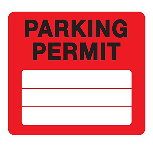 Parking Permit Pass Stock Static Cling Windshield Sticker Non-Adhesive for Employees, Tenants, Students, Businesses, Office, Apartments, by Milcoast, 10 Pack (Red)
