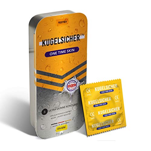 KUGELSICHER Kondome Vegan Gefühlsecht, Extra Dünn und Feucht (52 mm) - 8er Pack 1 x 8 St. in Stylischer Geschenk Box, Made in Germany
