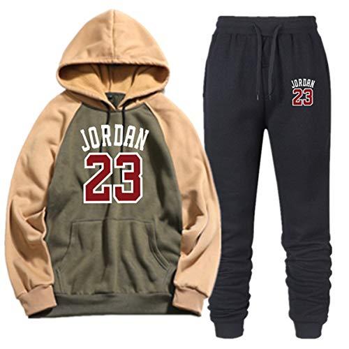 JORDAN # 23 Printed Contrast trui passen Kleur Tweekleurig En Velvet Heren, Heren Casual Sports Hoodie + broek, trui,H,XXL