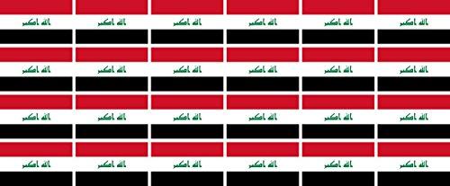 Mini Aufkleber Set - Pack glatt - 33x20mm - Sticker - Fahne - Irak - Flagge - Banner - Standarte fürs Auto, Büro, zu Hause & die Schule - 24 Stück