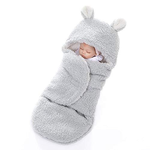 JJHG Manta de bebé gruesa, de doble capa, cómoda, de algodón, de terciopelo, para bebé con sombrero, suave y cálido, suave y gruesa, cálida manta para recién nacido