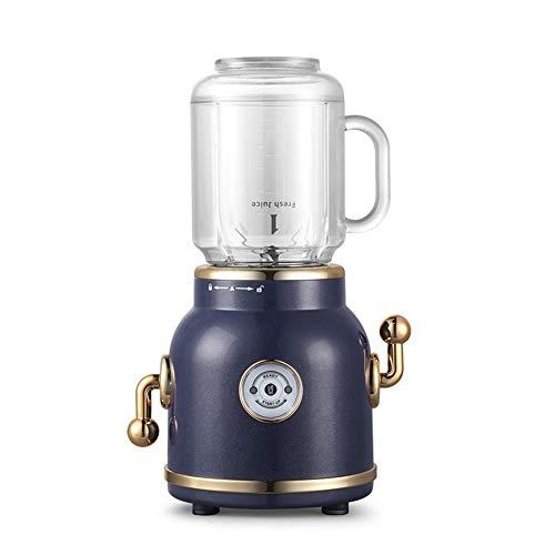 AMLY Retro Kochmaschine Mixer Smoothie Maker, Standmixer, 300W Mini Shake Maker, Multifunktion Smoothiemaker Mit 2 Sport-Flasche BPA Frei, 1000Ml Für Smoothie Getränk Von Obst Gemüse,Blau