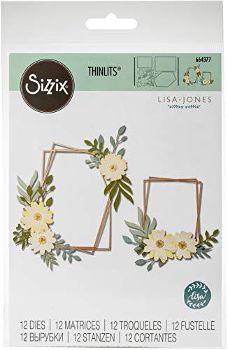 Sizzix 664377 Set di Fustelle Thinlits, Cornice Geo Floreale di Lisa Jones, Multicolore, Taglia unica, 12 pezzi