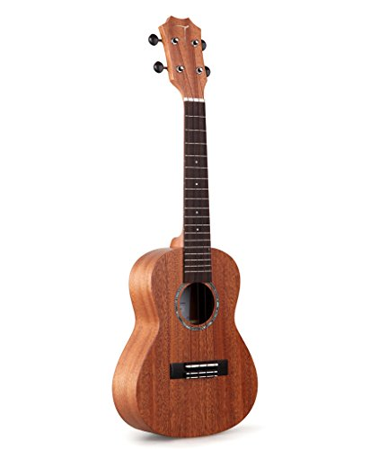 TOM Concert Ukulele TUC-230 has Solid African Mahogany Top with Gig Bag, Spare Aquila Strings, Tuner, Pick, Polishing Cloth and Belt - 26inch
