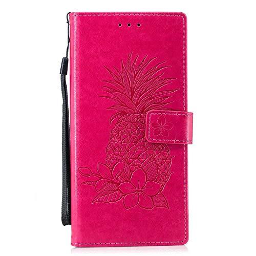 Bear Village® Sony Xperia XA2 Ultra Hülle, Leder Flip Handyhülle Schutzhülle mit Kartenfach, Standfunktion und Magnetverschluss für Sony Xperia XA2 Ultra, Rose Red