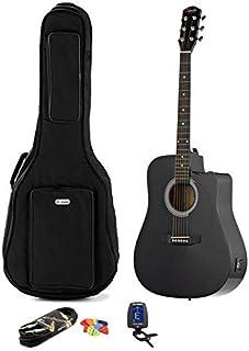 Guitarra acústica electrificada negra Fender Squier SA-105CE + bolsa con correa + accesorios