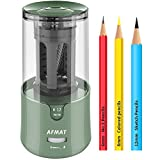 AFMAT ElectricPencilSharpener, PencilSharpenerforColoredPencils,AutoStop,SuperSharp&Fast,ElectricPencilSharpenerPluginfor6-12mmNo.2/ColoredPencils/Office/Home-Green