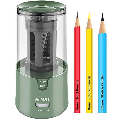 AFMAT Electric Pencil Sharpener, Pencil Sharpener for Colored Pencils, Auto Stop, Super Sharp & Fast, Electric Pencil Sharpener Plug in for 6-12mm No.2/Colored Pencils/Office/Home-Green