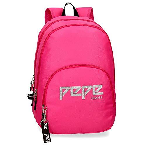 Pepe Jeans Uma Mochila doble Compartimento Rosa 32x44x22 cms Poliéster 23.94L