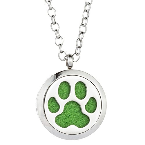 GelConnie Dog Paws Essential Oil Diffuser Necklace Animal Aromatherapy Pendant Perfume Fragrance Jewelry Stainless Steel Locket CSFL367-1-1
