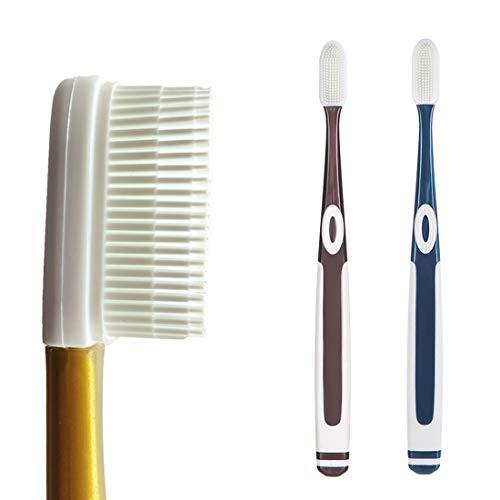 Cepillo de dientes suave de silicona, contiene 100 cerdas suaves de gel de sílice, fácil de secar, invento revolucionario en el año 2021 (2 unidades y 4 cabezales de cepillo) (azul + marrón).