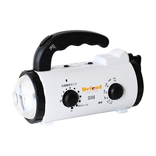 Defend Future ダイナモLEDラジオライト モバイルバッテリー機能搭載 [ FM/AM ラジオ対応 ] [ 懐中電灯/デスクライト/緊急サイレン ] 充電/給電 microUSBケーブル付き (iPhone Android スマホ充電対応 ) 防災/アウトドア/停電/普段使い [防災士厳選] (2.乾電池対応-ホワイト)