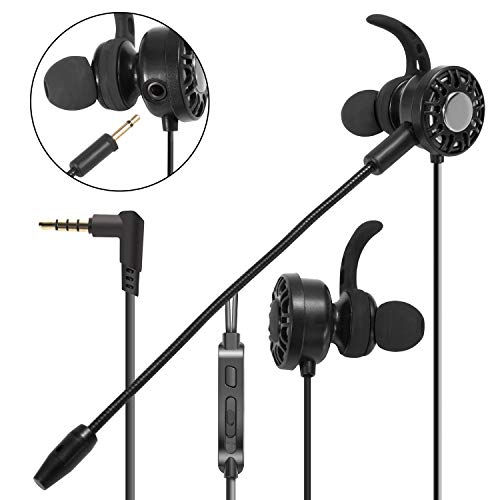 Insten 3.5mm Gaming Earbuds with Mic Audio, in-Ear Headset Stereo Headphone with Detachable Dual Micophone Compatible with PS4, Xbox One, Nintendo, Switch Lite, PC Mobile Game & Cell Phone - Black