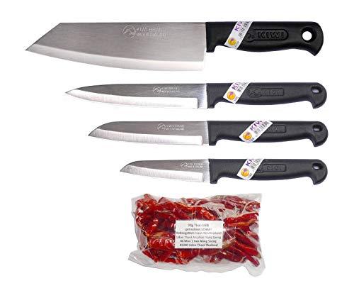 kiwiandkomkom 4 x Kiwi Thai Gemüsemesser Obstmesser Kochmesser Küchenmesser Asia Messer Set + 30g Thai Chilli aus Nord Thailand Isaan