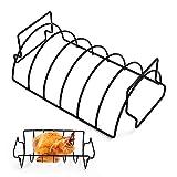 LIHAO Rippenhalter Grill BBQ Grillkorb Spareribs Braten Rack Bratenkorb zum Grillen für Hähnchen Spareribs Grillwerkzeuge