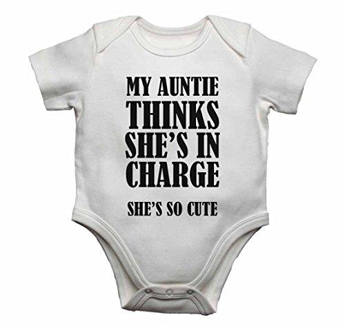 My Auntie pense qu'Elle est en clés She's so Cute – Bébé gilets bodies bébé SE Développe pour garçons, filles – Blanc – 6–9 mois