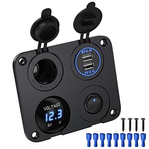 Deyooxi 4 in 1 Ladegerät Stecksockel,12V 4.2A Dual USB Ladegerät Steckdose und LED Voltmeter,Zigarettenanzünder Steckdose, Blaue LED-Anzeig, Unabhängigem EIN/Aus-Kippschalter für Auto Marine Boots LKW