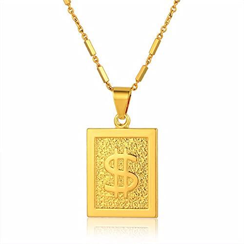 SWAOOS Collar con Colgante de Signo de dólar a la Moda, Cadena de Color Dorado, Collares con Babero geométrico, dijes para Mujer, joyería de 46 cm
