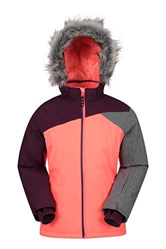 Mountain Warehouse Snowflake Kinder-Skijacke, extrem wasserdicht – atmungsaktiv, für Jungen und Mädchen, versiegelte Nähte, Abnehmbarer Schneefang – zum Snowboarden leuchtendes Pink 7-8 Jahre