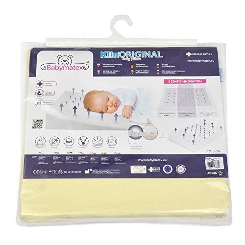 Almohada para bebé antiplagiocefalia marca CE para bebés y niños Medical Device anti reflujo antiasfixia hipoalergénico Made in EU y OEKO-TEX® para cuna y cuna desenfundable 40 x 36 (crema)