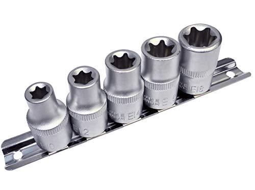AERZETIX - Juego de 5 vasos para atornillado - estrella hembra E10-E18 - para llave de carraca 1/2' - en Cr-V - C47117