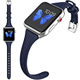 HAOZOUSA Compatible Women Slim Silicone iwatch Band 38mm 42mm Sport Strap for Apple Watch Series 4 3 2 1, Dark Blue