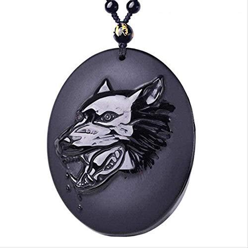 NC190 Collar de Modo Lobo tótem obsidiana Lobo Colgante Collar Jade obsidiana Negro Amuleto de la Suerte joyería Hombres Mujeres joyería joyería de Jade