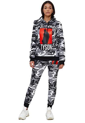 John Kayna Chándal para mujer | ropa de calle | Fitness | Chándal | Pantalones deportivos | Sudadera con capucha | Chándal | Chándal | Pantalones de correr | Modelo 979AC-JK Camuflaje blanco. XS