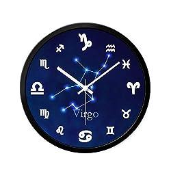 Twelve Constellation Wall Clock Silent 12inch Personality Fashion Modern Simplicity Quartz M/20-03-19 (Color : Virgo)
