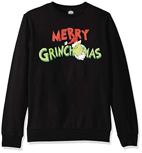 Dr. Seuss Men's Ugly Christmas Crew Sweatshirt, Grinchmas/Black, Large