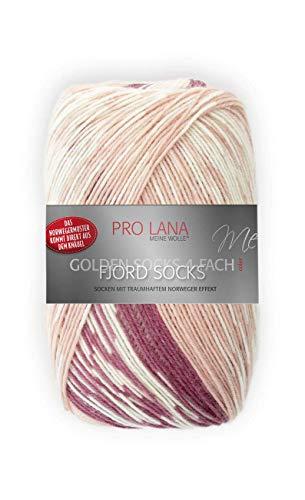 Unbekannt Pro Lana Fjord Socks 4-fädig Color 189 rosa Beere, Sockenwolle Norwegermuster musterbildend
