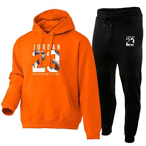 QYAD Jordanien - Chándal para hombre, moda con capucha, ropa deportiva 23#, 2 unidades, juegos de sudadera con capucha, pantalones deportivos, suéter con capucha, suéter Tik TOK naranja M