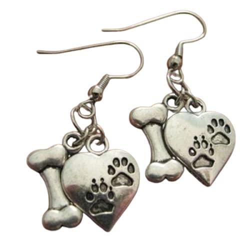 Pendientes de perro con estampado de huesos de perro y huellas – bonitos pendientes colgantes para mujer