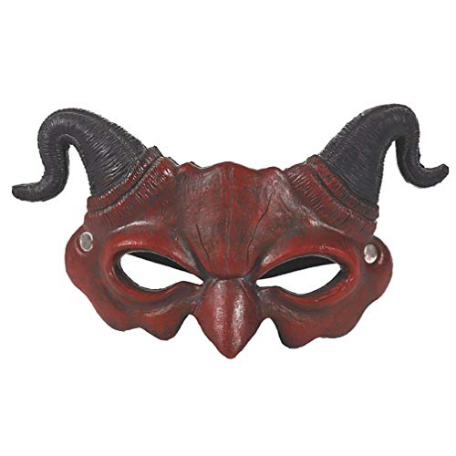 EXCEART Samurai Assassin Demon Oni Airsoft Mask Media Cara Mscara BB Gun Espeluznante Scary Halloween Cosplay Disfraz Media Cubierta para Ninja Warrior Evil Demon Masquerade Party