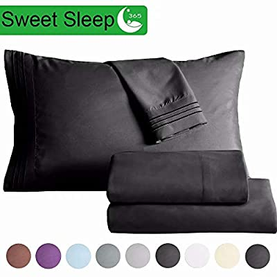 "SAKIAO Twin Size Bed Sheets Set - Brushed Microfiber 1800 Thread Count Percale - 16"" Deep Pocket Egyptian Sheets Beautiful Breathable Wrinkle Free & Fade Resistant - 3 Piece (Dark Grey,Twin)"