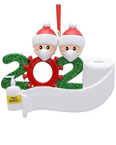 FYPARF Decoración del árbol De Navidad 2020 Decoraciones Navideñas DIY Nombre Bendición Resina Muñeco De Nieve Colgante del árbol De Navidad Regala Una Media De Navidad Gratis (A)