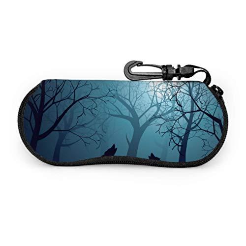 DAIDYA Brillenetui, Silhouette Wolf Howling Moon Forest Night Sonnenbrille Softcase Ultraleichtes Neopren-Reißverschluss-Brillenetui mit Karabinerhaken, Kinderbrillenetui