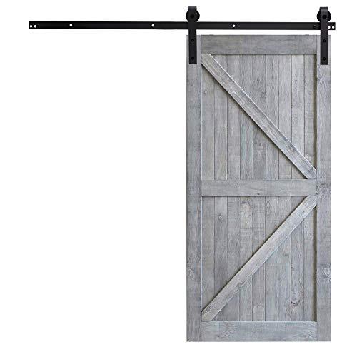 Fittyz 6.6FT 200cm Herraje para Puertas Correderas Kit para Puerta Corredera Granero con Capacidad de 100kg Riel para Puerta Corredera Granero (6.6FT 200cm)