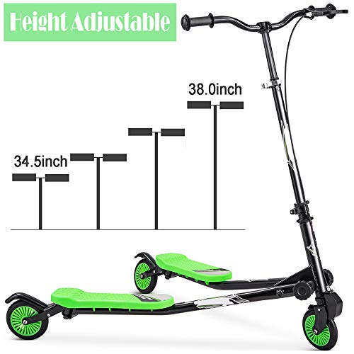 Rampmu Foldable Swing Scooter, 3 Wheel Scooter 4-Level Adjustable Height Wiggle Push Drifting Scooters for Kids Ages 3-5 (US Stock)