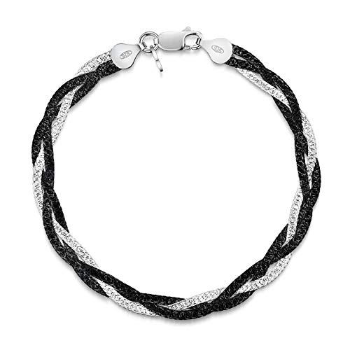 Amberta Pulsera para Mujer en Plata de Ley 925 Eslabon Herringbone 5 mm Longitud 19 cm