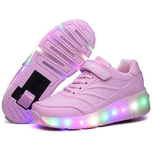 KK Timo Kinder LED Schuhe Mit Rollen Drucktaste Einstellbare Skateboardschuhe 2 Räder Outdoor Gymnastik Turnschuhe for Junge Mädchen (Color : Pink, Size : 35 EU)