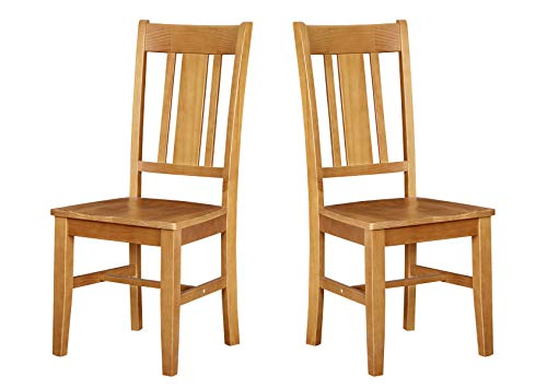 "Amazon Brand – Ravenna Home Classic-Style Solid Pine Dining Chair, 40""H, Honey Pine Finish, Set of 2"