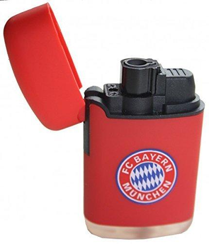 FC Bayern München Feuerzeug rot kompatibel + Sticker, FCB, Sturmfeuerzeug, Jet Feuerzeug
