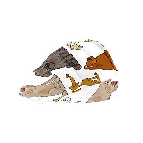 ASIGA Damen Arbeitskappe mit Baumwoll-Schweißband, verstellbar, elastisch, Cartoon-Hunde, Welpen, großes Set