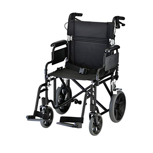 "NOVA Lightweight Transport Chair with Locking Hand Brakes, 12"" Rear Wheels, Removable & Flip Up Arms for Easy Transfer, Anti-Tippers Included, Black"