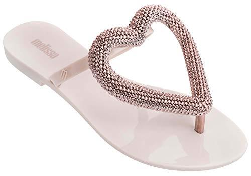 Melissa Damen Big Heart Chrom-Flip-Flop-Sandalen, Beige Rose, Größe 40
