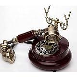 YANGYUAN Creativo de la Vendimia de teléfono, Anticuario Europea Idílico Retro del teléfono, teléfono Fijo hogar, Oficina Fija (Dial rotatorio/botón de Pantalla) (Color : A)
